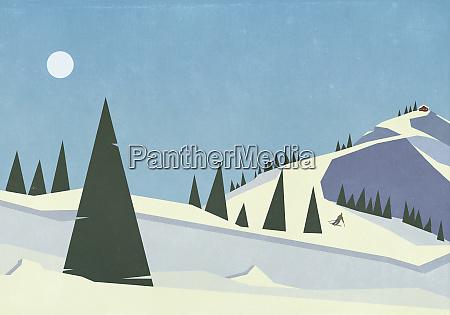 skier descending remote snowy mountain slope