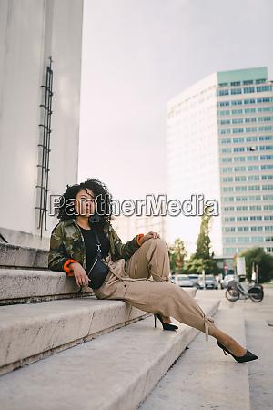 portrait confident stylish woman on urban