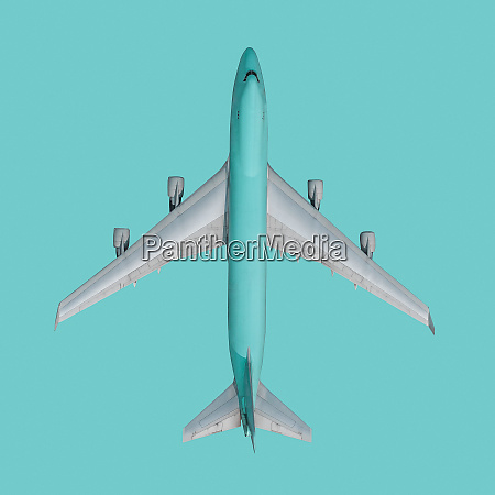 view from above turquoise airplane