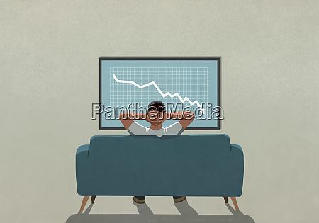 man on sofa watching stock market