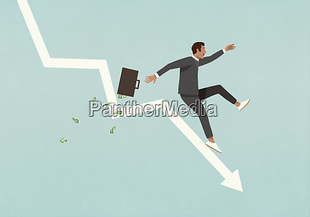 businessman with briefcase falling in recession