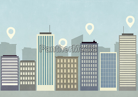 map pin icons above highrise buildings