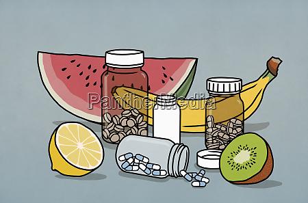 still life fruit and supplement medication