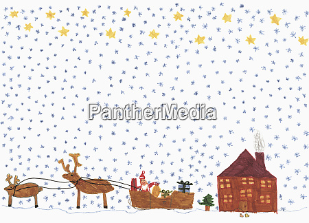 childs drawing santa claus in sleigh
