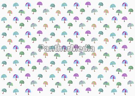 illustration multi colored umbrella pattern on