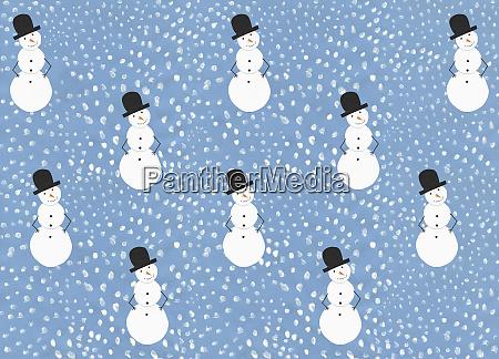 illustration snow and snowman pattern on