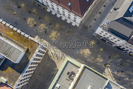 aerial view empty city streets during