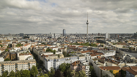 sunny scenic view berlin cityscape and