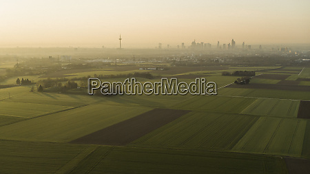 scenic view rural farmland and frankfurt