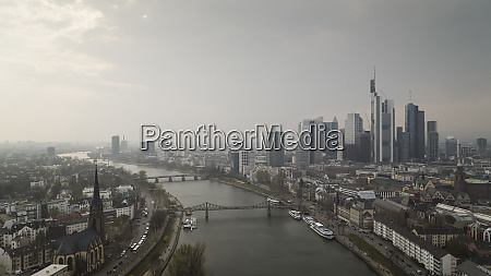 frankfurt cityscape and river main germany
