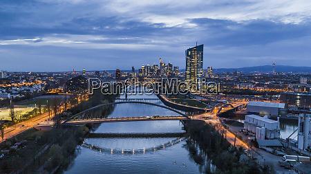 frankfurt cityscape and bridges over river