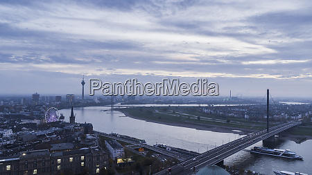 duesseldorf cityscape and rhine river north