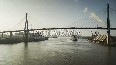 bridge over elbe river and port