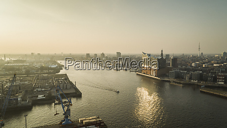 sunny scenic view elbe river and