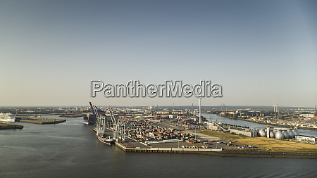 sunny scenic view port of hamburg