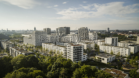 sunny munich cityscape and hirschgarten bavaria