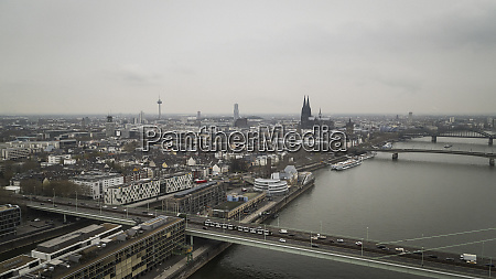 cologne cityscape and rhine river germany