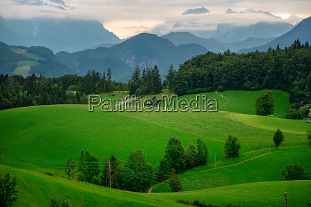 panoramic view at the alps of