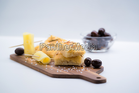 italian focaccia with onion olives and