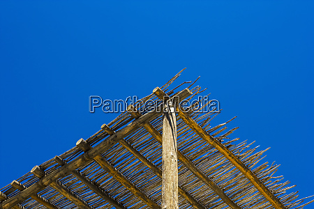 low angle view a wooden cabana