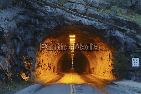 usa illuminated tunnel in mountains