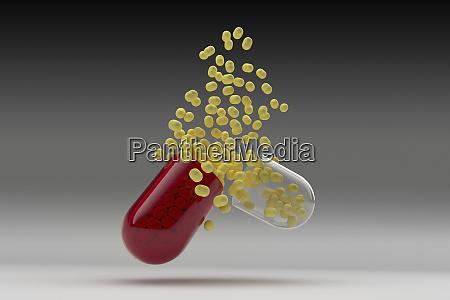 studio shot of capsule with yellow