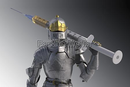 knight figurine with vaccination against coronavirus