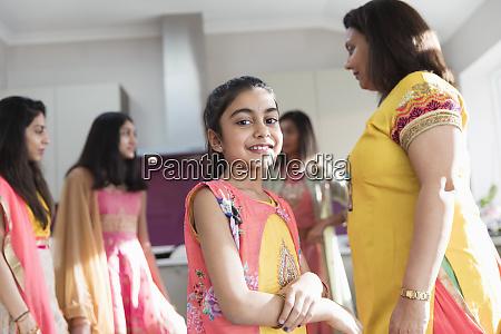portrait happy indian girl in sari