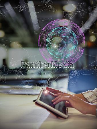 digital globe above businesswoman suing digital