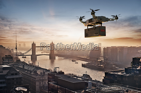 drone delivery package over london uk