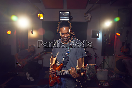 male, musician, playing, guitar, in, recording - 28734156