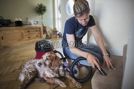 woman with dog vacuuming carpet on