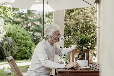 senior man with house plants on