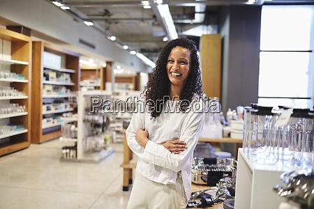 portrait happy woman in home goods