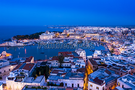 italy puglia trani harbor and cathedral