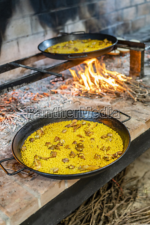 typical spanish seafood paella in a