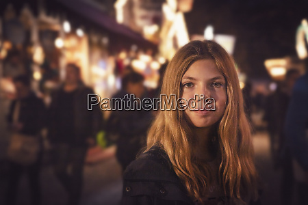 portrait of blond girl at carnival