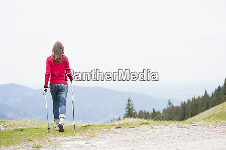 rear view of woman with hiking