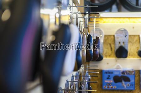 bicycle, seats, in, bike, shop - 28745644