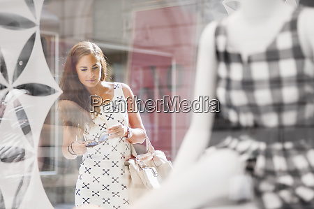 portrait of woman on a shopping