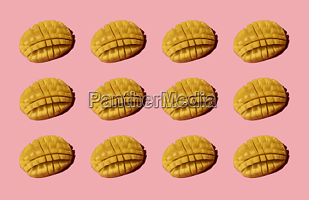 chopped mango pattern on pink background