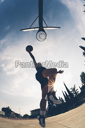 low angle view of female athlete