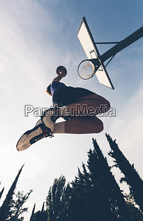 directly below view of teenage player