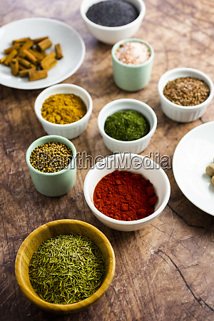 bowls of assorted spices