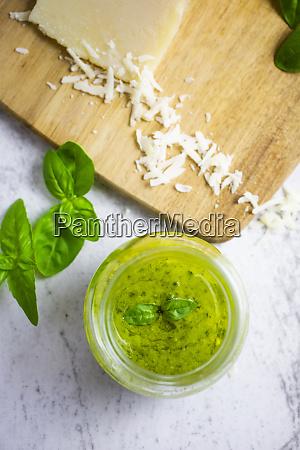pesto withbasil andgranacheese