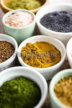 bowls, of, assorted, seeds, and, spices - 28747502