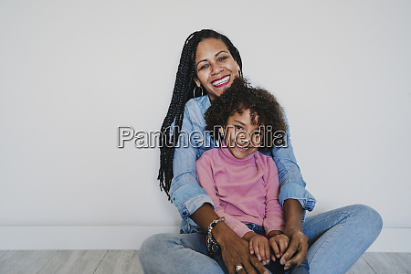 portrait of happy mother and her
