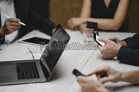 business people working in office using