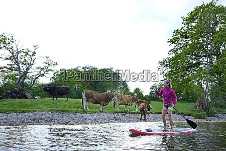 woman stand up paddling on lake