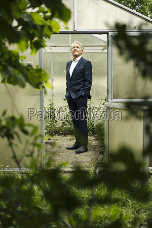 senior businessman standing in a greenhouse